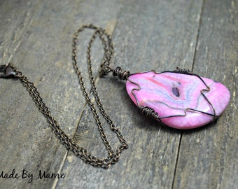 Rustic Pink Pendant Necklace, Dragon Veins Druzy Geode, Wire Wrapped, Layering Necklace, Hippie, Boho, Gypsy, Handmade Artisan, Bohemian