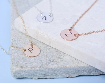 Simple Initial Necklace // Dainty Personalised Initial Necklace // Sterling Silver, Gold Filled or Rose Gold Filled Necklace