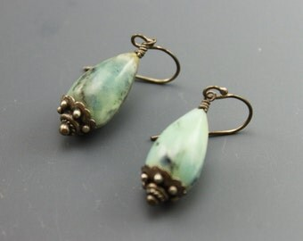 Rustic Earrings, Rustic Boho Earrings, Boho Earrings. Rustic Light Blue Green Peruvian Opals, #161-114