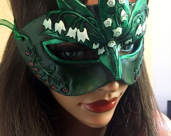 Lady of May Emerald and Lily of the Valley Leather Mask - Limited Edition 1 of 10 Birthstone Birth Flower Art Nouveau Mardi Gras Masquerade
