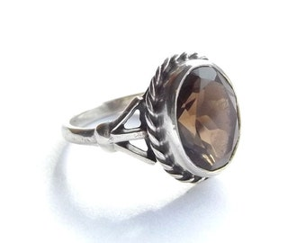 Silver & Smoky Quartz Ring   UK size N 1/2 ~ US size 7