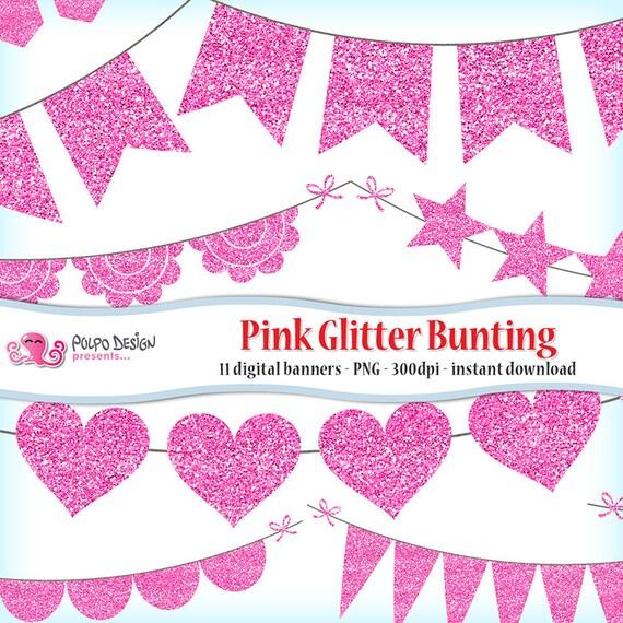 Pink Glitter Bunting Banner Clipart. Pink glitter banner pink