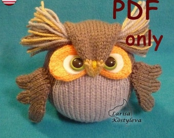 Wise owl, amigurumi knitting pattern pdf