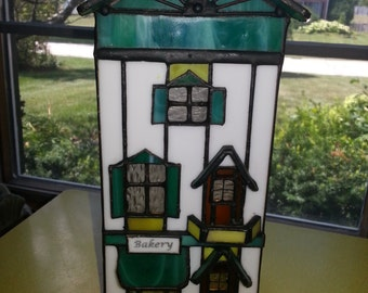 """Vintage 1993 Forma Vitrum """"The Breadman's Bakery"""" Stained Glass House By Bill Job No 1405"""