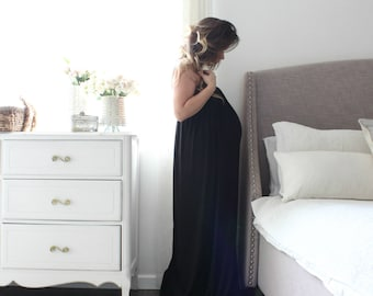 Maternity Gown  Night Gown full gathered empire  babydoll maternity dress