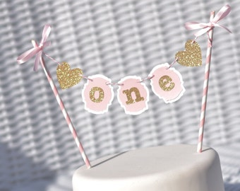 Pink and Gold Cake Bunting, Pink and Gold First Birthday Cake topper