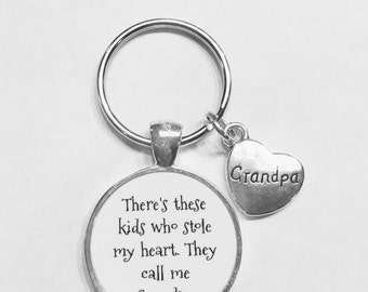Grandpa Gift, There's These Kids Who Stole My Heart They Call Me Grandpa Gift Keychain