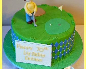 Fondant Golf Cake Topper Kit - Golf Cake Decorations, Fondant golfer, Golf Ball, Plaque, Handmade Edible Birthday Cake Decorations