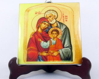 Holy Family icon - Christian icons on ceramic tiles handmade in Italy - christian gifts - christian art - christian plaque