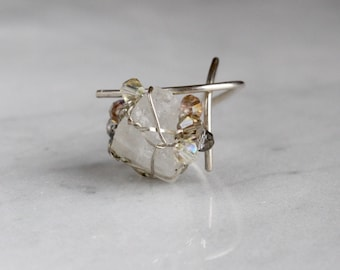 Adjustable Quartz Ring, wire wrapped, sterling silver