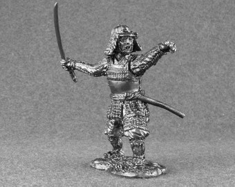 Japanese Medieval Collectible Toy Figures 1/32 Scale Samurai 16th Century Soldiers 54mm Tin Metal Miniature Sculpture Action Statuette