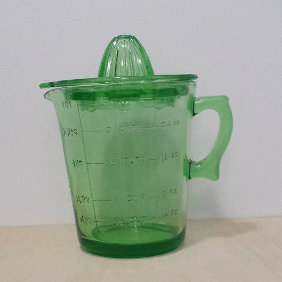 Green Glass 4 Cup Measuring Cup and Juicer Set Uranium Green