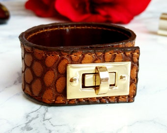 Brown Leather Cuff Bracelet for Women, Handmade Leather Jewelry
