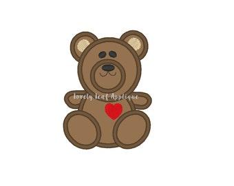 Teddy Bear Applique Design 4x4 and 5x7 Hoop