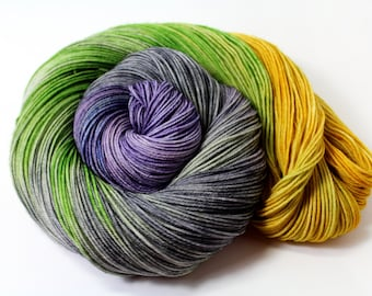 Lady Grey - DYED TO ORDER - 100g 463 yd 4 ply Fingering Yarn 75/25% Superwas Merino/Nylon -Groovy Hues Tea Collection- gray, lavender, green