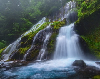 Into The Mist, Panther Falls, Waterfall, Panther Creek, Washington, Pacific Northwest - Travel Photography, Print, Wall Art