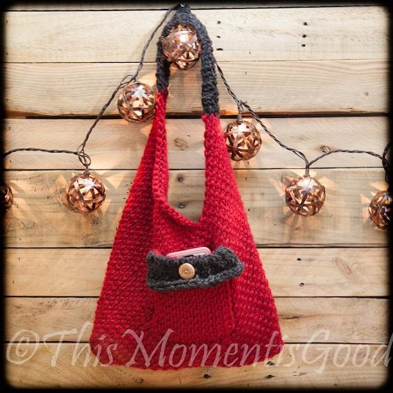 Knitted Sling Bag : Loom Knit Sling Bento Handbag Purse PATTERN. Easy, beginner Purse ...