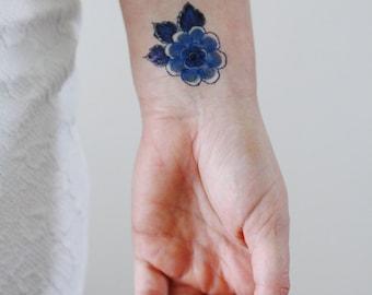 Delft Blue floral temporary tattoo / Delft Blue temporary tattoo / flower temporary tattoo / something blue wedding / boho gift idea / blue