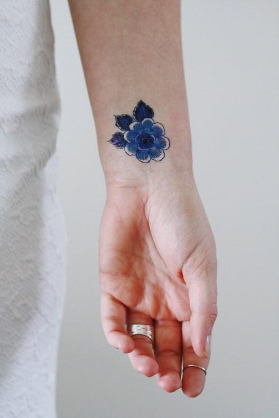 Delft Blue Floral Temporary Tattoo Delft Blue Temporary