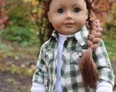 18 Inch Doll Flannel Shirt - Green Plaid Button Down Shirt & White T-shirt - Autumn Doll Clothes - American Made Doll Clothes