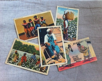 SALE Lot 5 Vintage Black Americana Postcards Paper Ephemera History