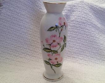 Lefton Pink Dogwood  Bud Vase, Pink Dogwood Flowered Vase, Lefton China, 1980s Lefton, Pink Floral Bud Vases, Dogwood Porcelain