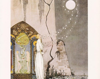 The Lassie and her Godmother Kay Nielsen vintage art nouveau print illustration folk tale fairy tale home decor  8.5x11.5 inches
