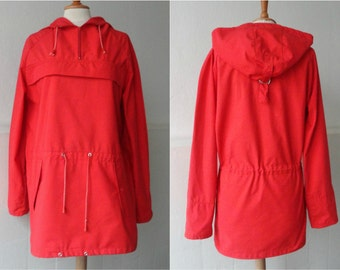 Red Hooded Vintage Anorak // Sport Master // Size S