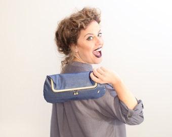 Deep blue, kiss lock purse, synthetic leather clutch bag, fold over clutch, kiss lock handbag, vegan purse, evening clutch, blue bag