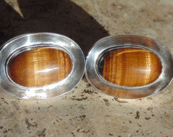 Antonio Pineda ~ Substantial 970 Silver and Tigers Eye Cuff Links ~ 43 Grams