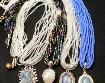 """22, 28 or 30"""" Rainbow Moonstone Necklace. 18 to choose from! Like clouds in blue sky. Sterling Silver. free US ship"""