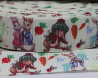 Rabbit Character 7/8 Inch Grosgrain Ribbon by the Yard for Hairbows, Scrapbooking, and More!!