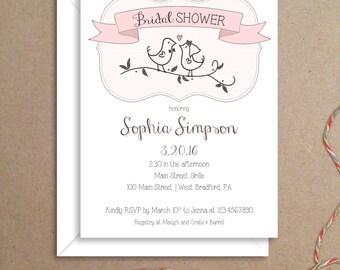 Bridal Shower Invitations - Lovebirds Invitations - Party Invitations - Illustrated Invitations - Custom Invitations