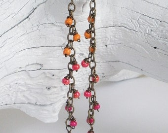 Orange, Coral and Pink Dangle Earrings. Long Ombre Shoulder Duster Dangle Earrings. Boho Earrings.
