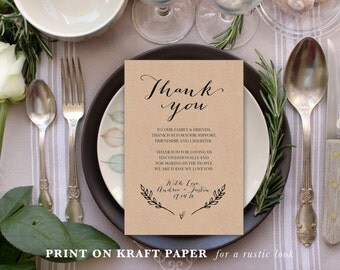 Wedding Thank You Cards, Thank You Printable, Editable Template, Printable Template, Instant Download, Place Setting Thank You #KKD120_20