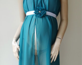 Maternity gown Jade chiffon with & Sash RTS