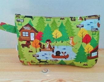 Fabric clutch,fabric handbag,green clutch,fabric pouch,quilted bag,quilted clutch,animals clutch,kawaii bag,canvas bag,canvas clutch