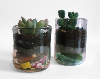 Wabi-sabi handblown glass succulent planter with reclaimed seaglass and ceramic