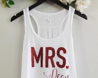 Mrs Tank Top, Custom Wedding Tank Top, White & Glitter Tank Top, Bride Tank, Racerback Tank, Cute Tank, PICK YOUR Font Color, Style 001