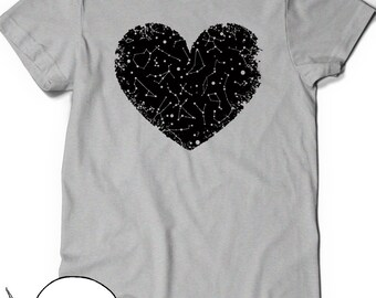 Heart Shirt Space Constellation Shirt T-Shirt Tee Ladies Girl Womens Mens Gift Present Outer Space Astronomy Science Girlfriend Astrology