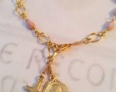 Rosary Bracelet - Pink Alabaster - 18K Gold Vermeil