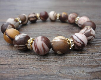 Zebra Jasper Bronze Gemstone Stacking Bracelet/Crystal and Gold/Chocolate Brown/Pink/Mauve/Cream/Yellow