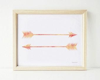 Arrow print, Arrow Wall Art PRINTABLE, Coral Art, Two Arrows Tribal Art, Tribal Decor, Home decor Wall Print, Feather Arrows Art Print 8x10