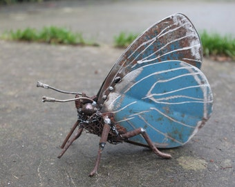 "6"" Holly Blue Butterfly Recycled Welded Scrap Metal Sculpture, Unique Art Work, Reclaimed"