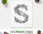 Instant Download Printable Coloring Page Floral Alphabet Letter N Digital Art Printable Art Zen Coloring Pages Adult Anti Stress Art Therapy