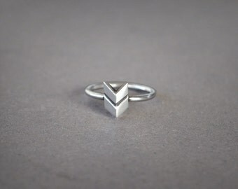 Chevron Ring Sterling Silver Ring Geometric Stacking Rings, Minimalist Silver Ring Boho Jewelry Dainty Ring Silver, Geometric Jewelry Boho