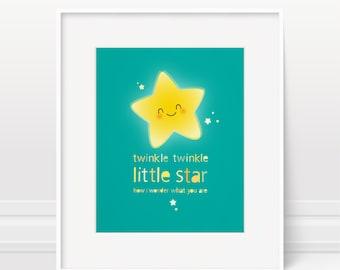 Nursery art print, twinkle twinkle little star, kids room art, nursery rhyme, nursery decor, modern nursery, kids art, baby room, baby print