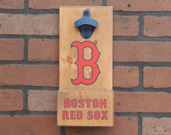 Boston Red Sox MLB Baseball Style Wall Mounted Bottle Opener With Cap Catcher and Easy Removal System - All Teams Available!