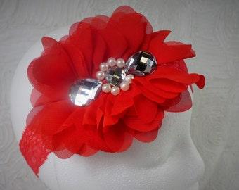 Red Headband, Baby Girl Headband, Baby Flower Headband, Newborn Headband, Baby Girl, Little Girl Headband, Red Flower Headband, Chiffon