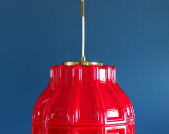 HELENA TYNELL for FLYGSFORS, opal red pendant lamp, Sweden, midcentury vintage 60s.